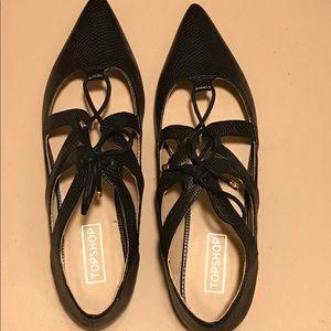 NWOT TopShop Black Flats, never worn